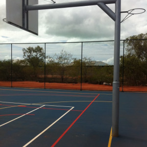 heavy duty basketball netball reversible unit with 3.5m overhang