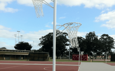Reversible netball tower at Perth sporting club