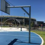 Basketball tower installed outside of Optus Stadium
