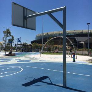Basketball tower installed outside of Optus Stadium in Perth
