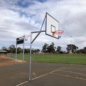 Heavy Duty Basketball / Netball Units with Offset Netball Rings